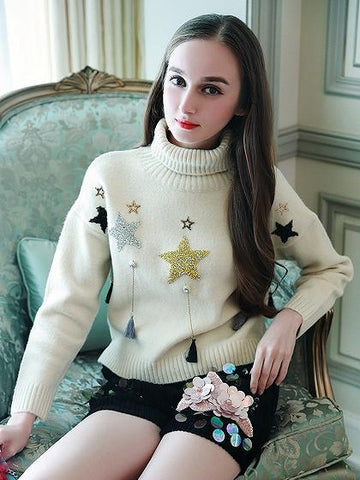 Beige High Neck Star Sequin Tassel Detail Knit Sweater