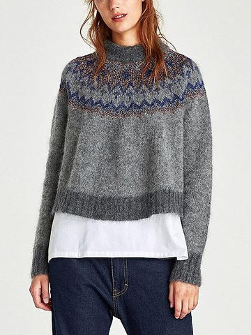 Gray Lurex Yarn Long Sleeve Mohair Knit Sweater