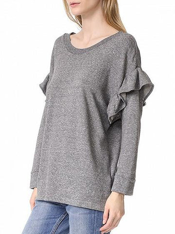 Gray Ruffle Trim Long Sleeve Sweatshirt