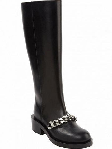 Black Leather Chain Detail Boots