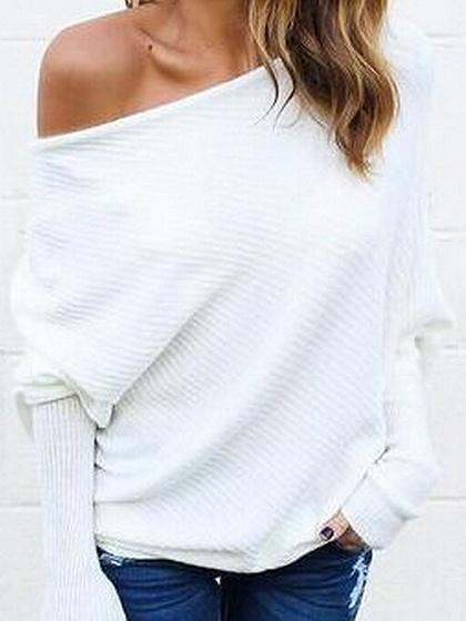 DaysCloth White Cold Shoulder Batwing Sleeve Ribbed T-shirt