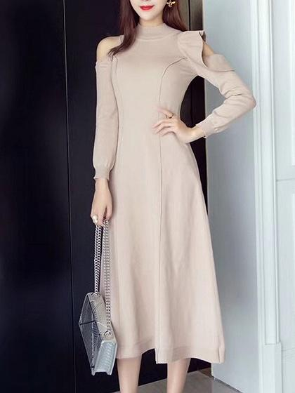 Beige Cold Shoulder Ruffle Detail Long Sleeve Knitted Dress