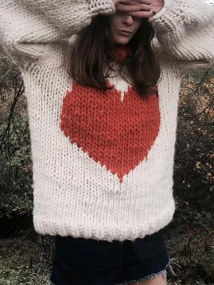 White Heart Pattern Mohair Knit Sweater