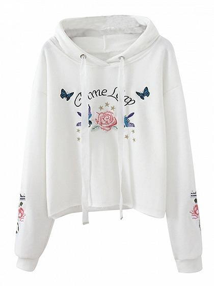 DaysCloth White Drawstring Embroidery Detail Long Sleeve Hoodie