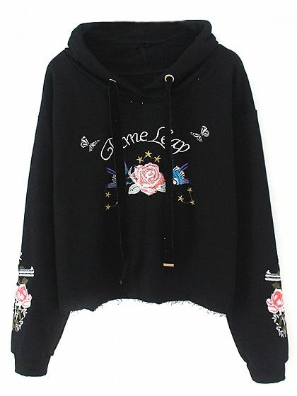 DaysCloth Black Drawstring Embroidery Detail Long Sleeve Hoodie