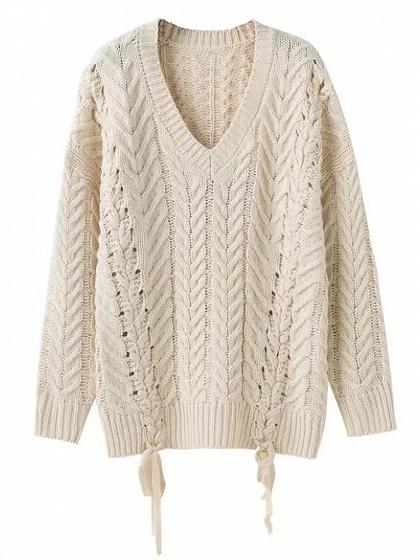 Beige V-neck Lace Up Side Cable Knit Sweater
