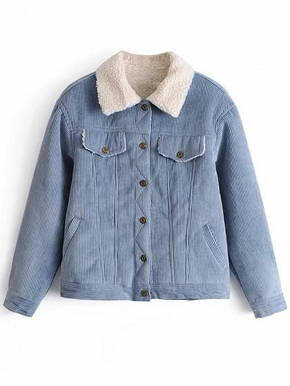 Blue Faux Shearling Lining Corduroy Jacket
