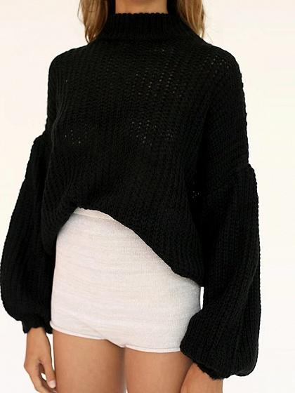 Black Drop Shoulder Puff Sleeve Knit Sweater