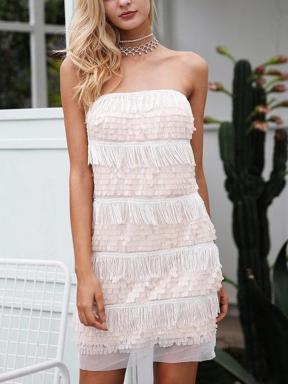 Beige Off Shoulder Tassel Trim Sequin Detail Mini Dress