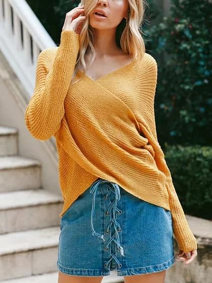 DaysCloth Yellow Cross Wrap Front Knit Sweater