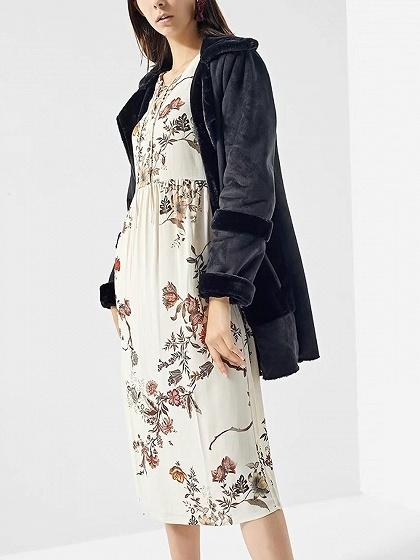 White Lace Up Front Floral Print Long Sleeve Midi Dress