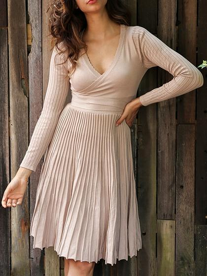 Beige Plunge Tie Waist Long Sleeve Knitted Pleated Dress