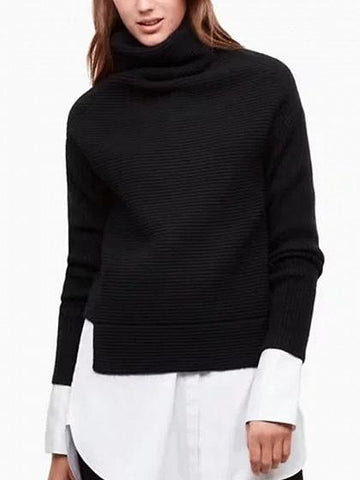 Black High Neck Long Sleeve Knit Sweater