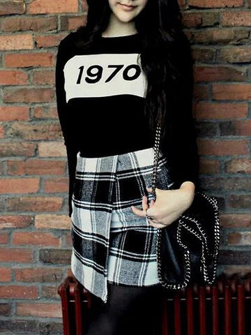 Black Number Pattern Long Sleeve Knit Sweater