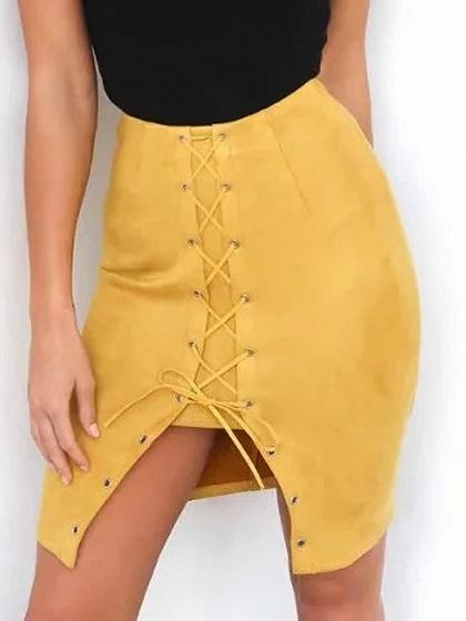 DaysCloth Yellow Faux Suede High Waist Lace Up Front Pencil Skirt