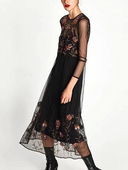 Black Embroidery Floral Mesh Midi Dress And Cami Lining