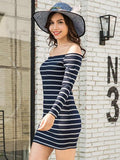 Blue Off Shoulder Stripe Long Sleeve Ribbed Bodycon Dress