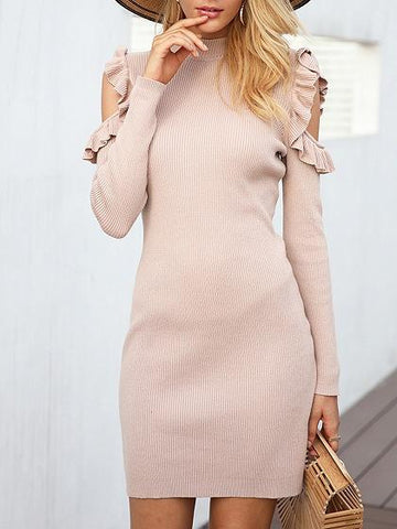 Beige Cold Shoulder Ruffle Trim Long Sleeve Mini Dress