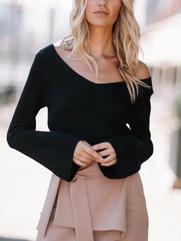 Black V-neck Long Sleeve Knit Sweater