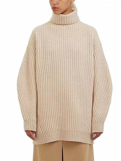 DaysCloth Beige High Neck Long Sleeve Chunky Knit Sweater