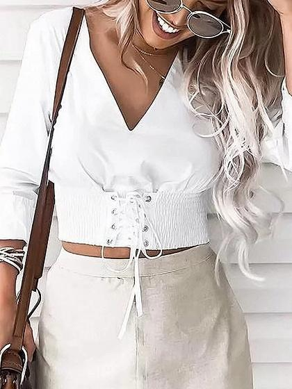 DaysCloth White V-neck Lace Up Front Long Sleeve Cropped Blouse