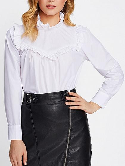 DaysCloth White Stand Collar Ruffle Trim Long Sleeve Blouse