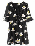 Black Plunge Floral Print Bow Tie Front Mini Dress