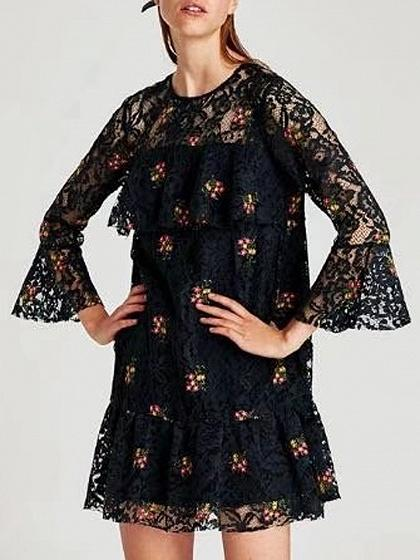 DaysCloth Black Floral Embroidery Long Sleeve Lace Mini Dress