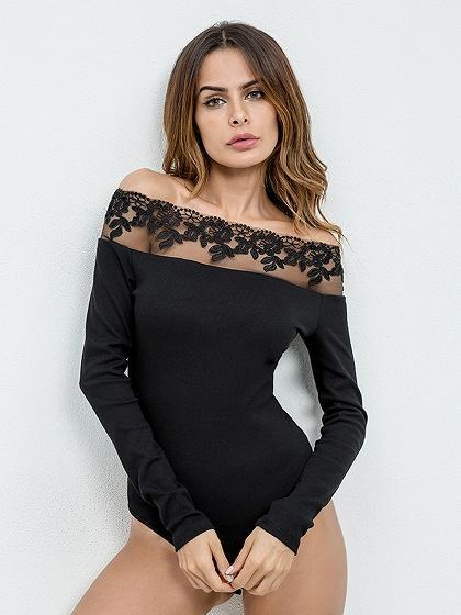 Black Off Shoulder Lace Panel Long Sleeve Bodysuit