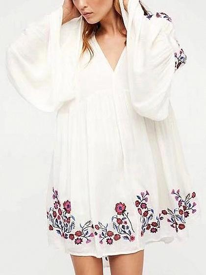 DaysCloth White V-neck Embroidery Floral Flared Sleeve Mini Dress