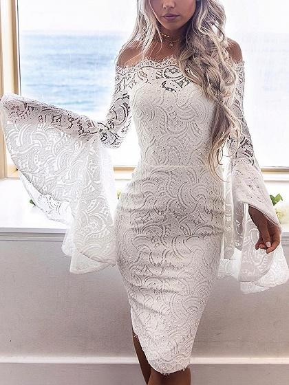DaysCloth White Off Shoulder Flare Sleeve Lace Bodycon Dress