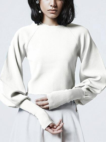 DaysCloth White Puff Sleeve Knit Sweater