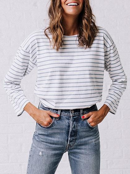DaysCloth White Stripe Button Back Long Sleeve T-shirt