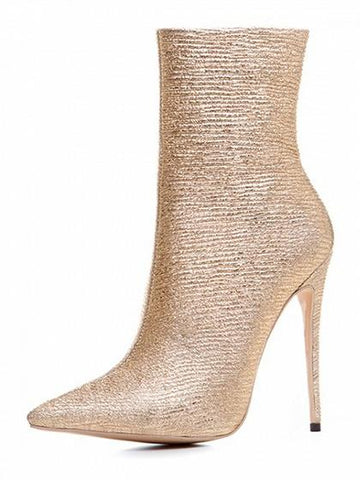 Gold Sparkle Stretch Pointed Heeled Boots