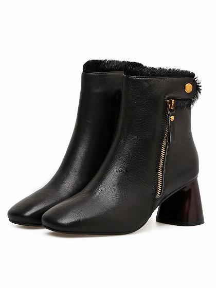 Black Suede Zip Side Heeled Ankle Boots