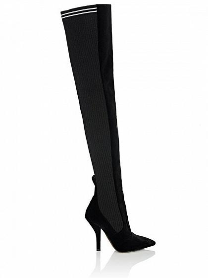 Black Suede Pointed Heeled Over the Knee Boots
