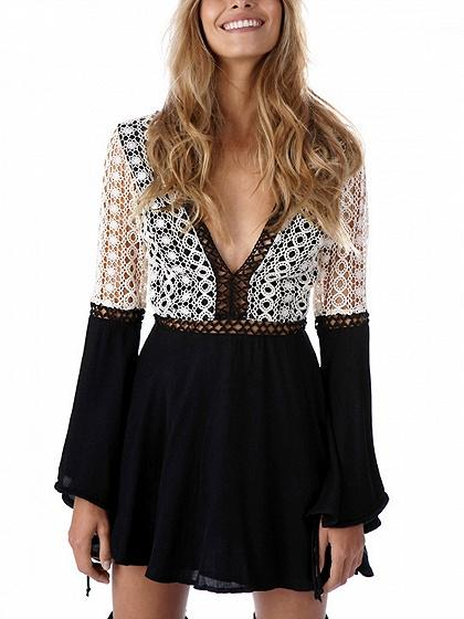 Black Contrast Plunge Lace Panel Open Back Mini Dress