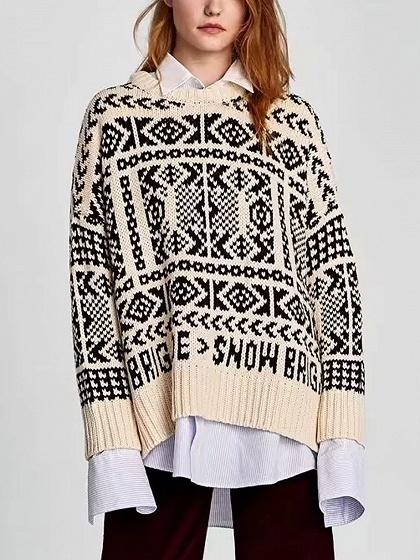 DaysCloth Beige Drop Shoulder Knit Sweater