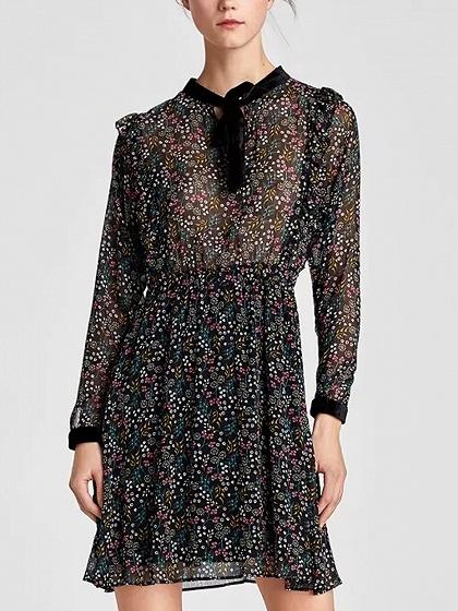 DaysCloth Black Bow Tie Front Print Detail Long Sleeve Mini Dress