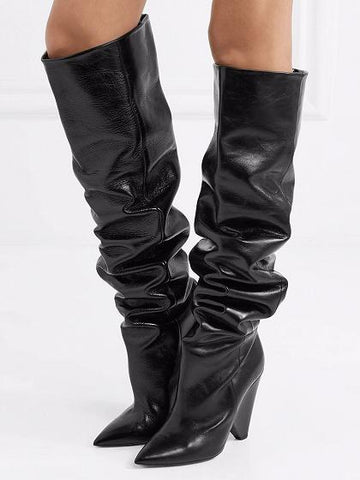 Black Leather Pointed Heeled Over the Knee Boots