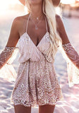 Pink Patchwork Grenadine Sequin Bandeau Lace-up Off Shoulder Short Jumpsuit