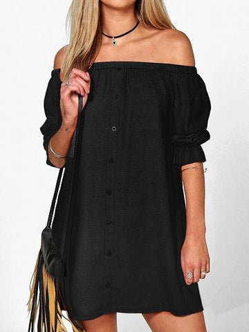 Black Off Shoulder Button Placket Mini Dress