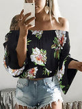 Black Off Shoulder Print Detail Long Sleeve Blouse