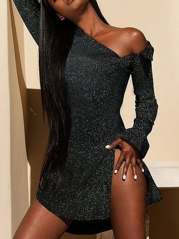 Black Cold Shoulder Sequin Detail Split Side Shirt Dress