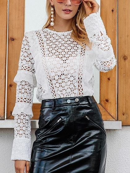 DaysCloth White Frill Trim Long Sleeve Lace Blouse