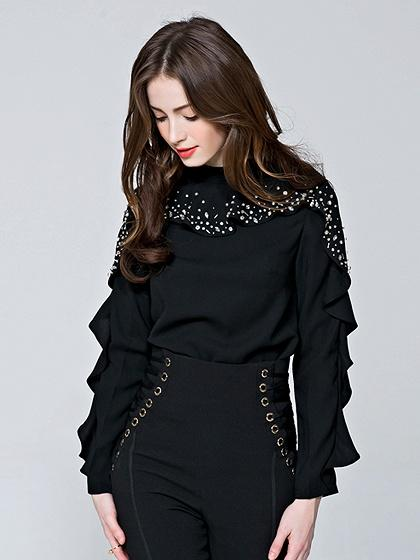DaysCloth Black Beaded Detail Ruffle Trim Long Sleeve Blouse