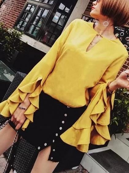 DaysCloth Yellow V-neck Ruffle Trim Long Sleeve Blouse