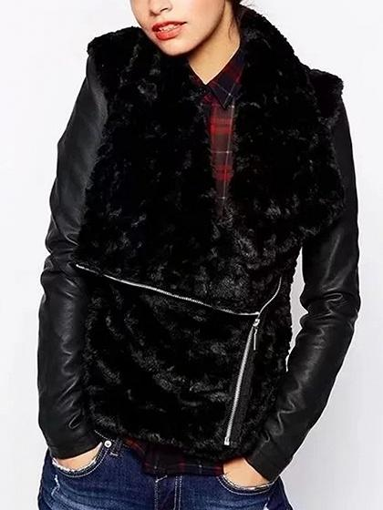 DaysCloth Black PU Paneled Lapel Long Sleeve Faux Fur Jacket