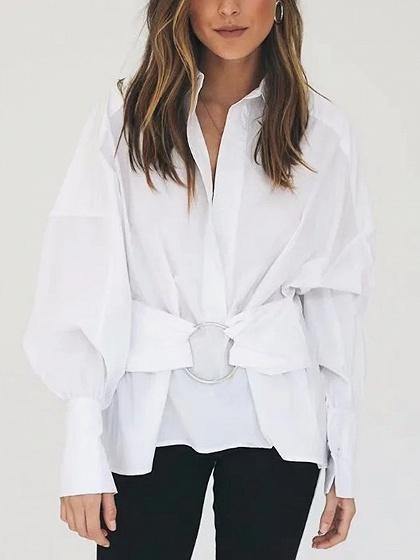 DaysCloth White Ring Front Long Sleeve Shirt