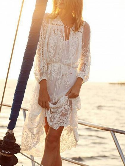 DaysCloth White Tie Waist Long Sleeve Lace Dress And Cami Lining